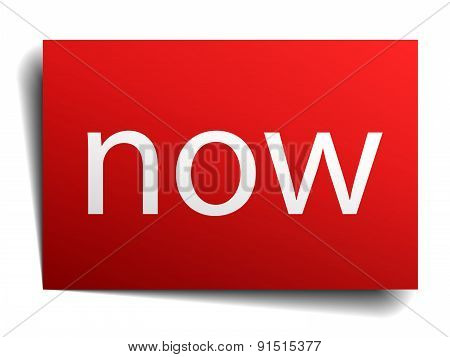 Now Red Square Isolated Paper Sign On White
