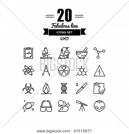 Bio Technology Elements Line Icons Set
