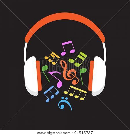 Concept music. Headphones and musical notes