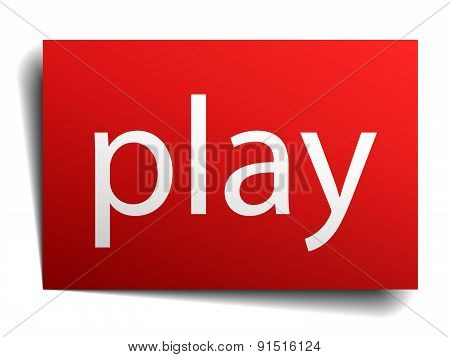 Play Red Square Isolated Paper Sign On White