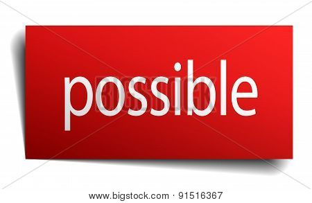 Possible Red Square Isolated Paper Sign On White