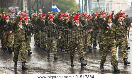 ATHENS, GREECE - MAR 25, 2015: Soldiers celebrate the Independence Day of Greece, annual national holiday, on this day Greeks pay tribute to the heroes of the Revolution 1821-1829.