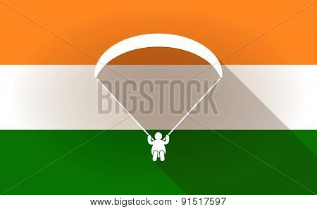 India Flag Icon With A Paraglider
