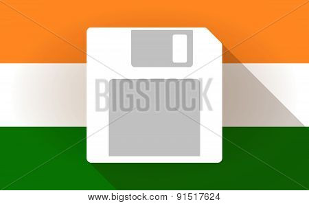 India Flag Icon With A Floppy