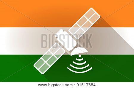 India Flag Icon With A Satelllite