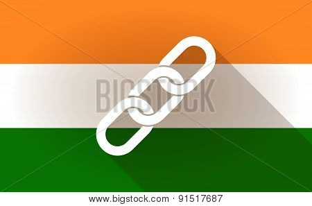 India Flag Icon With A Chain