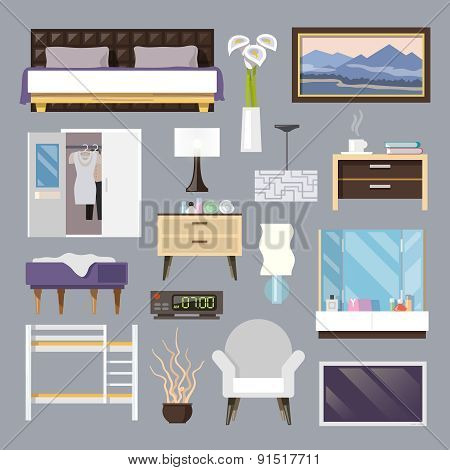 Bedroom Furniture Flat Icons Set