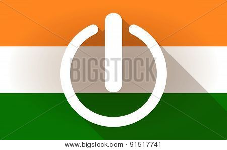 India Flag Icon With An Off Button
