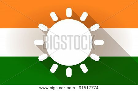 India Flag Icon With A Sun