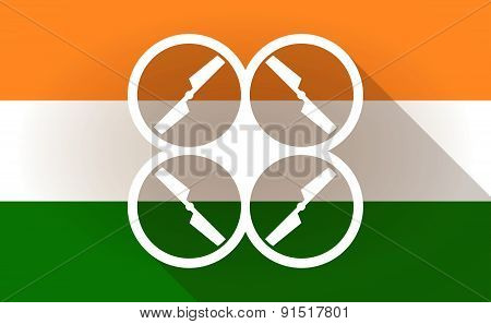 India Flag Icon With A Drone