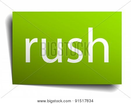 Rush Square Paper Sign Isolated On White
