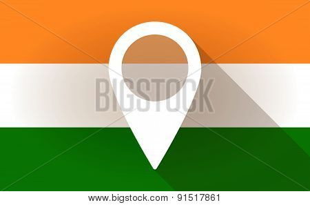 India Flag Icon With A Map Mark