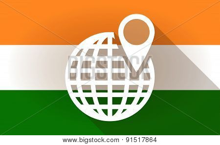 India Flag Icon With A World Globe