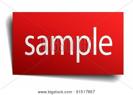 Sample Red Paper Sign On White Background
