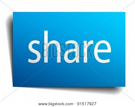Share Blue Paper Sign On White Background