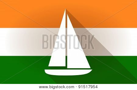 India Flag Icon With A Ship