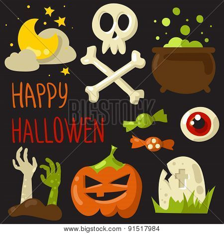Happy Halloween Elements Set