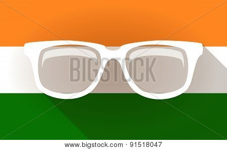India Flag Icon With A Glasses
