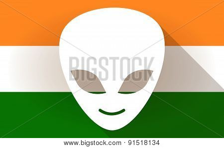 India Flag Icon With An Alien Face