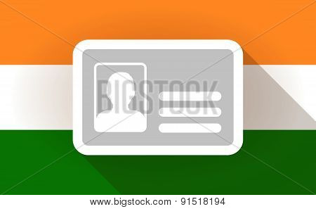 India Flag Icon With An Id Card