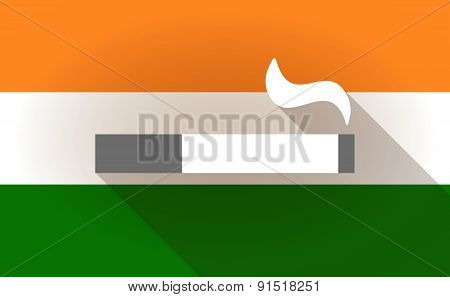 India Flag Icon With A Cigarette