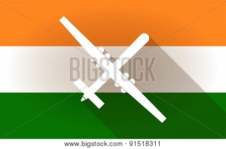 India Flag Icon With A War Drone