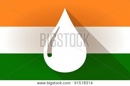 India Flag Icon With A Fuel Drop