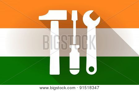 India Flag Icon With A Tool Set
