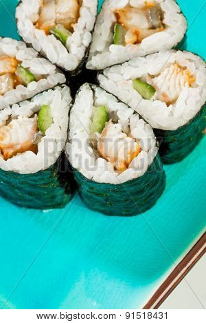 Tasty food. Sushi Roll background.