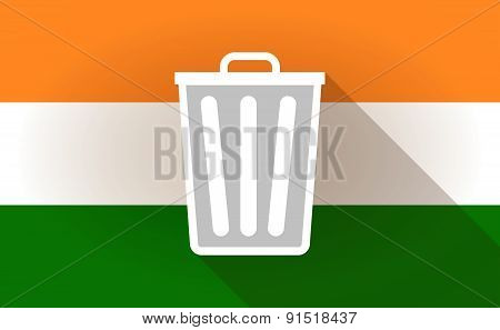 India Flag Icon With A Trash Can