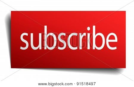 Subscribe Red Paper Sign Isolated On White