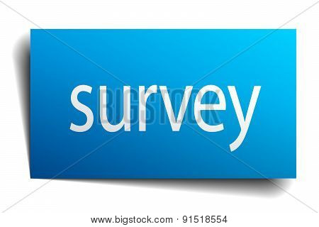 Survey Blue Paper Sign On White Background