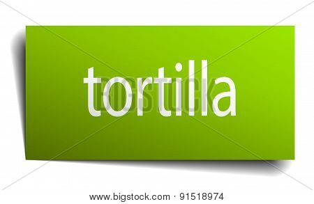 Tortilla Square Paper Sign Isolated On White
