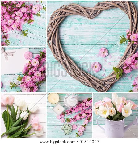 Collage From Photos With   Pink  Flowers And Decorative Heart