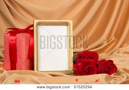 Roses and a frame on cloth
