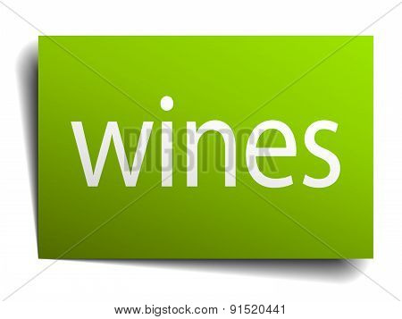 Wines Square Paper Sign Isolated On White
