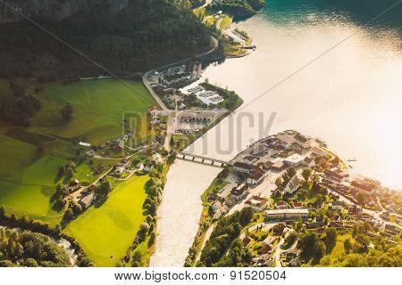 Small Town And Cruise Port Aurlandsvangen In Norwegian Fjords.