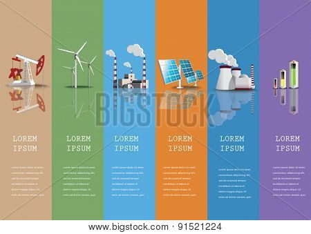 Industrial icons  set power plants and  factories vector illustration.