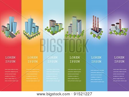 Industrial icons  city streets and  factories vector illustration.