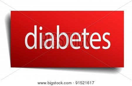 Diabetes Red Square Isolated Paper Sign On White