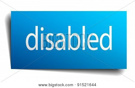 Disabled Blue Paper Sign On White Background