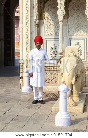 Indian Welcome From Guard In Typical Indian Dress
