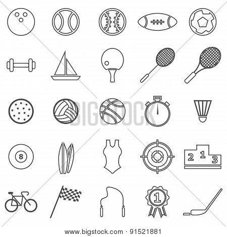 Sport  Line Icons On White Background