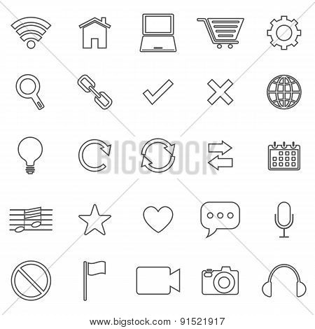 Web Line Icons On White Background