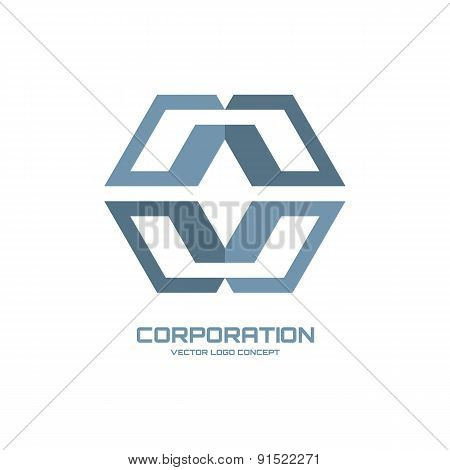Corporation - vector logo sign concept illustration.