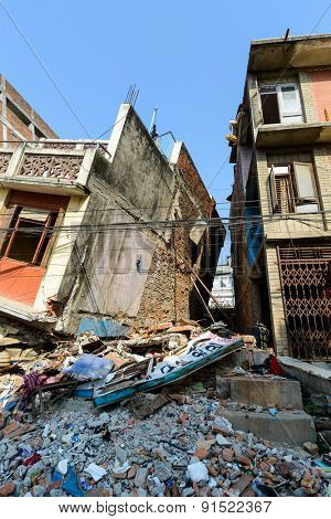 KATHMANDU, NEPAL - MAY 22, 2015: A partially collapsed building after two major earthquakes hit Nepal on April 25 and May 12, 2015.