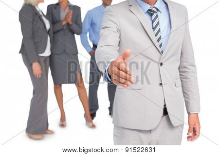 businessman offering handshake on white background