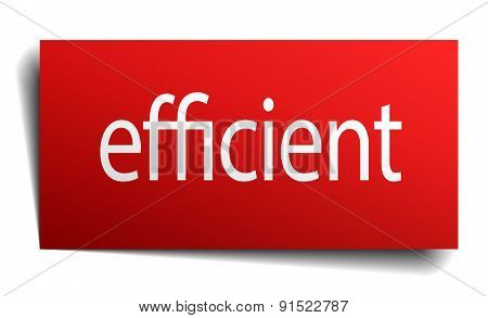 Efficient Red Square Isolated Paper Sign On White