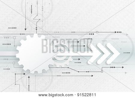 Vector Illustration Abstract Futuristic, White Gear Wheel On Circuit Board