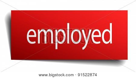 Employed Red Square Isolated Paper Sign On White